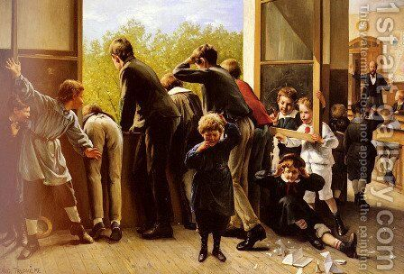 The Class Pranksters by Auguste Joseph Trupheme - Reproduction Oil Painting