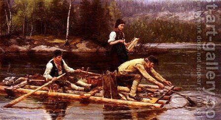 Fischfang Am Flusse (Catching Fish On A River) by Jahn Ekenaes - Reproduction Oil Painting
