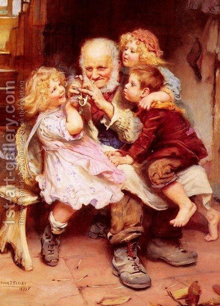 Grandfather's Favorites by Arthur John Elsley - Reproduction Oil Painting