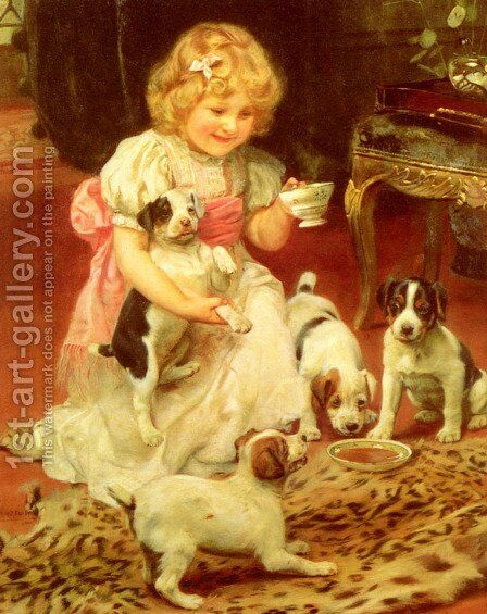 Tea-Time by Arthur John Elsley - Reproduction Oil Painting
