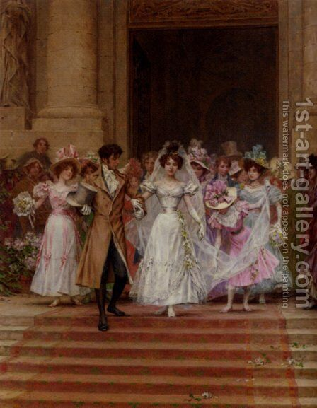 The Wedding, Church Of St. Roch, Paris by Frederick Hendrik Kaemmerer - Reproduction Oil Painting