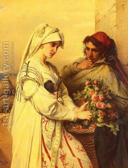 The Rose Vendor by Jean-Francois Portaels - Reproduction Oil Painting