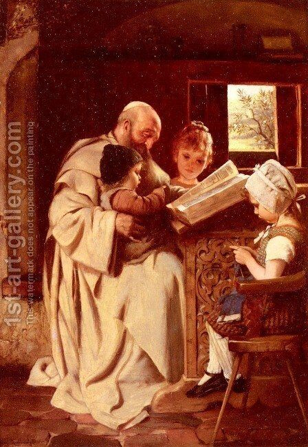Reading The Bible by Hermann Kaulbach - Reproduction Oil Painting
