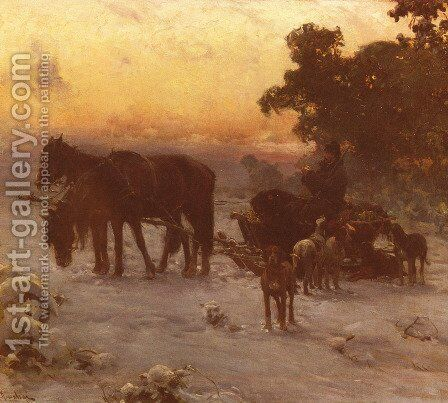 A Journey In Winter by Alfred Wierusz-Kowalski - Reproduction Oil Painting