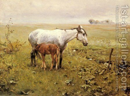 A Mare and her Foal in a Landscape by Alfred Wierusz-Kowalski - Reproduction Oil Painting