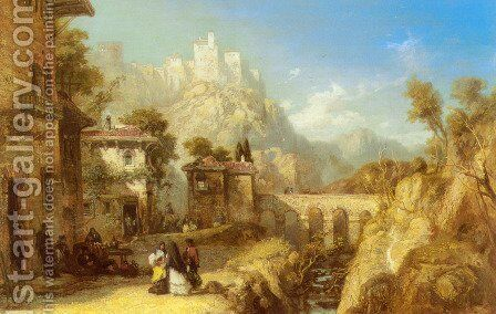 A Mediterranean Landscape with Villagers by James Webb - Reproduction Oil Painting