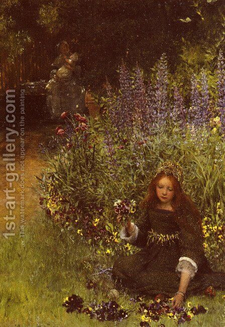 Gathering Pansies by Sir Lawrence Alma-Tadema - Reproduction Oil Painting