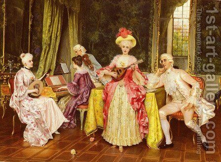 The Music Lesson by I. Sabatini - Reproduction Oil Painting