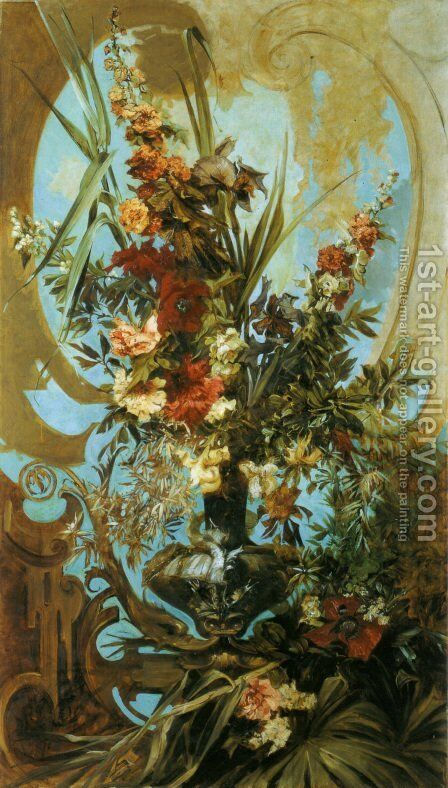 Grosses Blumenstück (Large Flower Piece) by Hans Makart - Reproduction Oil Painting