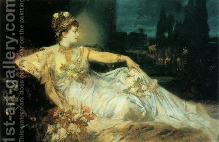 Charlotte Wolter als 'Messalina' (Charlotte Wolter as 'Messalina') by Hans Makart - Reproduction Oil Painting