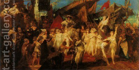 Der Einzug Karls V. in Antwerpen (Entwurf) (The Entry of Charles V. into Antwerp (Sketch)) by Hans Makart - Reproduction Oil Painting