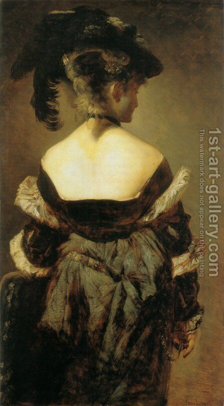 Dame mit Federhut in Rückenansicht (Lady with Feather Hat from Behind) by Hans Makart - Reproduction Oil Painting