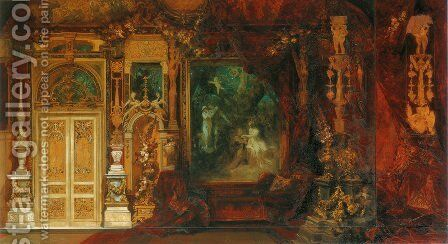 Der Sommernachstraum, Entwurf zur Dekoration eines Raumes in der Hermesvilla (The Summer Night's Dream, Sketch for the Decoration of a Room in the Hermes Villa) by Hans Makart - Reproduction Oil Painting