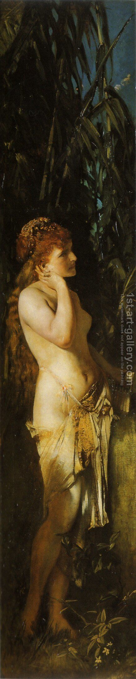 Die Fünf Sinne: Gehör (The Five Senses: Hearing) by Hans Makart - Reproduction Oil Painting