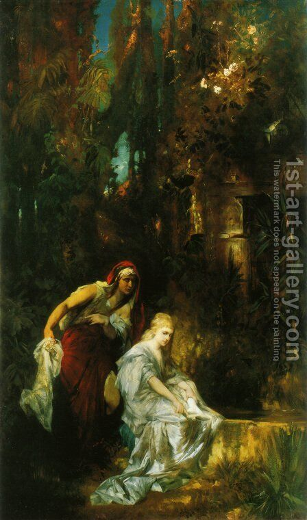 Schneewittchen erhält den Giftkamm (Snow White Receives the Poisoned Comb) by Hans Makart - Reproduction Oil Painting