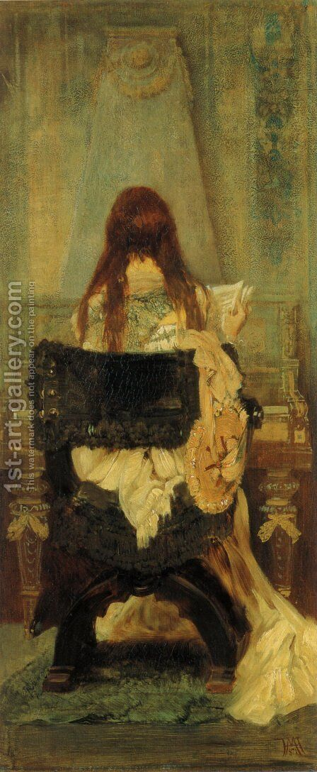 Dame am Spinett (Lady at the Spinett) by Hans Makart - Reproduction Oil Painting