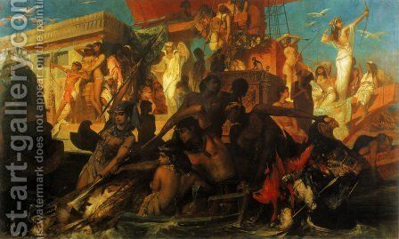 Die Niljagd der Kleopatra (The Nile Hunt of Cleopatra) by Hans Makart - Reproduction Oil Painting