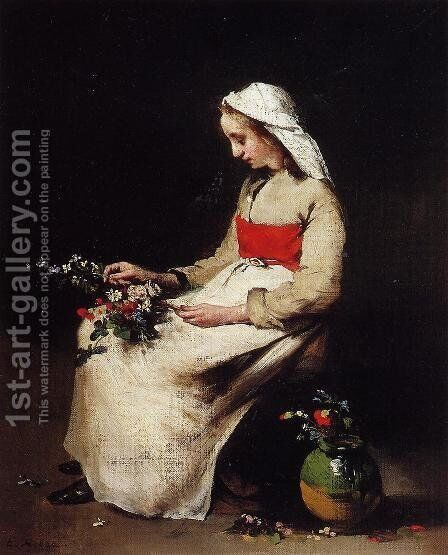 A Girl Arranging A Vase Of Flowers by Theodule Augustine Ribot - Reproduction Oil Painting