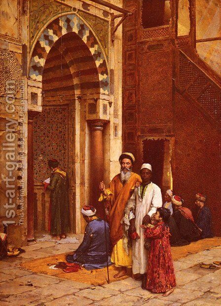 L'Aveugle A La Mosquee (Blind man at the Mosque) by Arthur von Ferraris - Reproduction Oil Painting