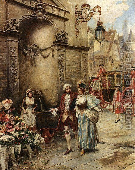 A Visit To The Florist by Henri Victor Lesur - Reproduction Oil Painting