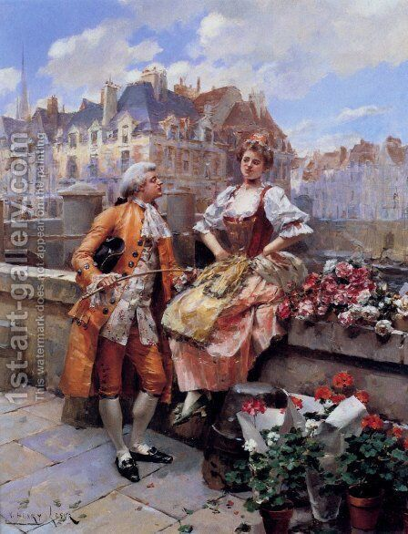 The Flower Seller by Henri Victor Lesur - Reproduction Oil Painting