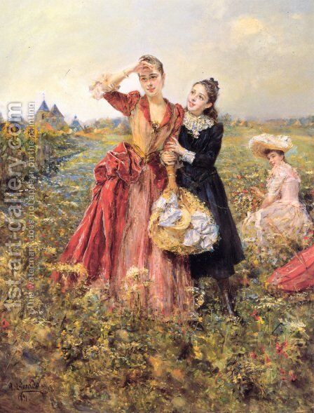 Picking Wildflowers by Eduardo León Garrido - Reproduction Oil Painting