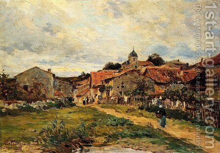 The Village Road by Edmond Marie Petitjean - Reproduction Oil Painting