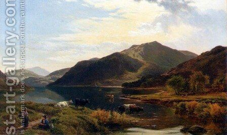 Cattle By A Lake by Sidney Richard Percy - Reproduction Oil Painting