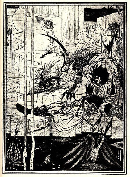 How King Arthur Saw the Questing Beast by Aubrey Vincent Beardsley - Reproduction Oil Painting