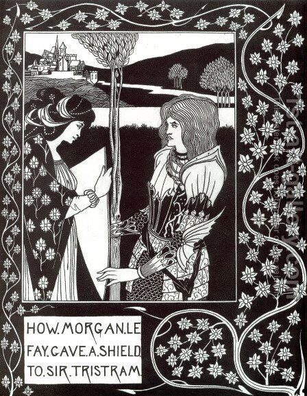 How Morgan Le Fay Gave a Shield to Sir Tristram by Aubrey Vincent Beardsley - Reproduction Oil Painting