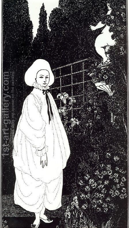 Frontispiece to 'The Pierrot of the Minute' by Aubrey Vincent Beardsley - Reproduction Oil Painting