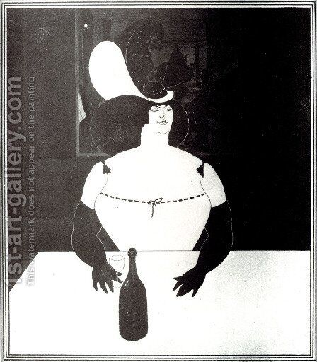 The Fat Woman by Aubrey Vincent Beardsley - Reproduction Oil Painting