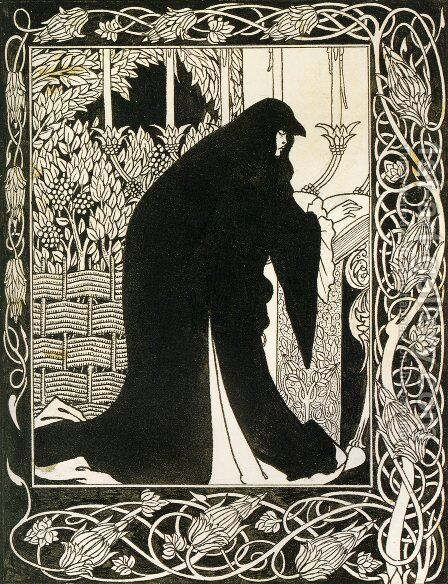 How Queen Guenever Made Her a Nun by Aubrey Vincent Beardsley - Reproduction Oil Painting