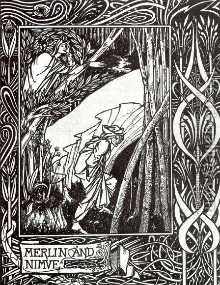 Merlin and Nimue by Aubrey Vincent Beardsley - Reproduction Oil Painting