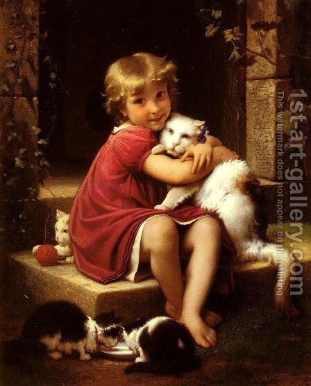 Son Favori (Her Favorite Pet) by Leon-Jean-Basile Perrault - Reproduction Oil Painting
