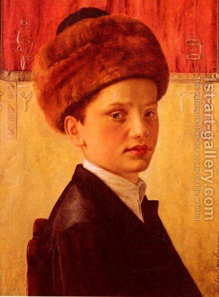 Portrait of a Young Chassidic Boy by Isidor Kaufmann - Reproduction Oil Painting