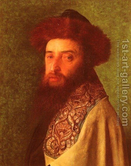 Young Rabbi with Blue Tallis by Isidor Kaufmann - Reproduction Oil Painting