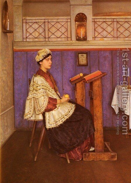 Young Woman in the Synagogue by Isidor Kaufmann - Reproduction Oil Painting
