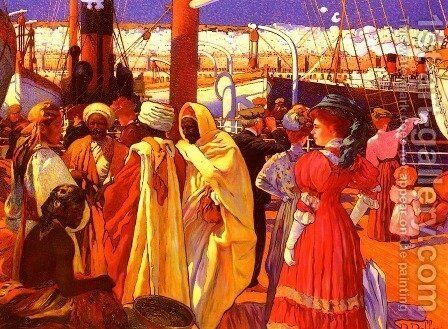 L' Embarquement (Embarking) by Davide Dellepiane - Reproduction Oil Painting