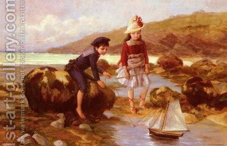 Enfants Pechant by Charles Jean Auguste Escudier - Reproduction Oil Painting