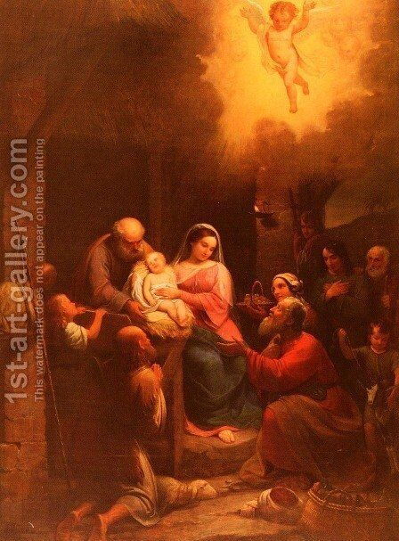 La Vista De' Pastori Al Bambino Gesu Nel Presepio (The Presentation of the Shepherds to the Christ Child in the Stable) by Natale Schiavoni - Reproduction Oil Painting