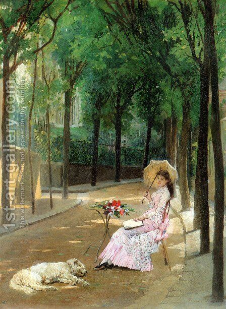 A Lazy Afternoon by Gustave Leonhard de Jonghe - Reproduction Oil Painting