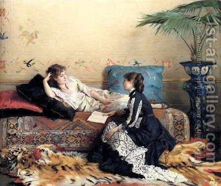 Idle Moments by Gustave Leonhard de Jonghe - Reproduction Oil Painting