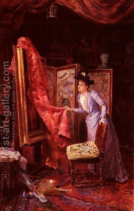 Il Studio Da Pittura (The Painting Studio) by Achille Vianelli - Reproduction Oil Painting