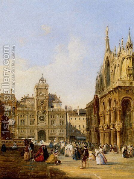 A View Of St Mark's Square by Edward Pritchett - Reproduction Oil Painting