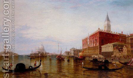 Gondolas On The Grand Canal In Front Of The Doge's Palace, Venice by Edward Pritchett - Reproduction Oil Painting