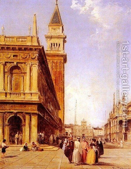 St Mark's Square, Venice by Edward Pritchett - Reproduction Oil Painting