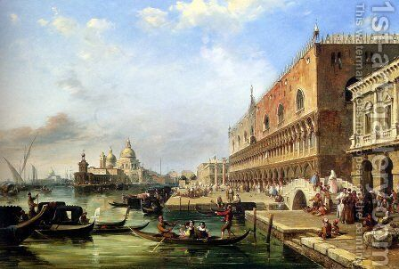 The Bacino, Venice, Looking Towards The Grand Canal, With The Dogana, The Salute, The Piazetta And The Doges Palace by Edward Pritchett - Reproduction Oil Painting