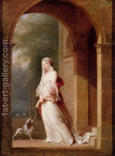 A Young Woman Standing In An Archway by Jean-Baptiste Mallet - Reproduction Oil Painting