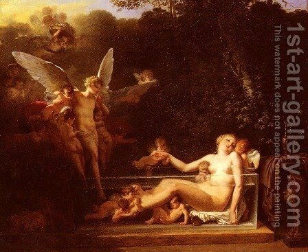 Une Nymphe Au Bain, Environnee D'Amours (A Nymph at Bath, Surrounded by Cupids) by Jean-Baptiste Mallet - Reproduction Oil Painting